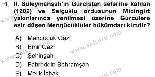 Tarih Bölümü 3. Yarıyıl Türkiye Selçuklu Tarihi Dersi 2016 Yılı Güz Dönemi Dönem Sonu Sınavı 1. Soru