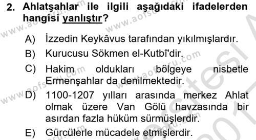Türkiye Selçuklu Tarihi Dersi 2016 - 2017 Yılı Ara Sınavı 2. Soru