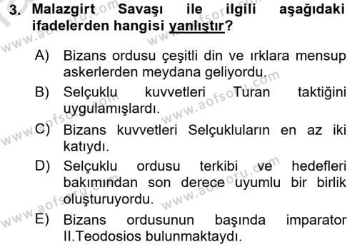 Türkiye Selçuklu Tarihi Dersi 2016 - 2017 Yılı Ara Sınavı 3. Soru