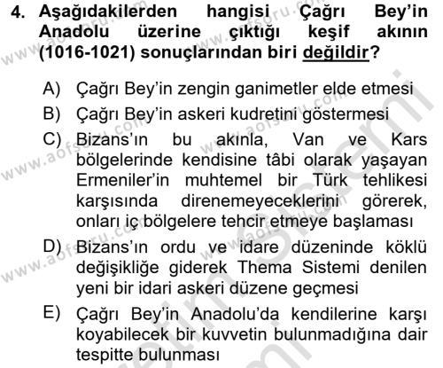 Türkiye Selçuklu Tarihi Dersi 2016 - 2017 Yılı Ara Sınavı 4. Soru