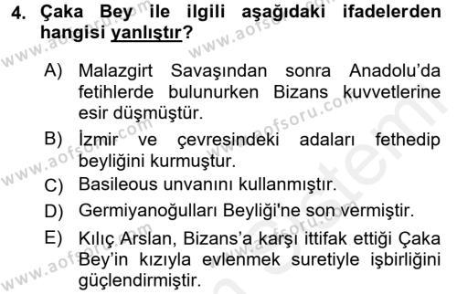 Türkiye Selçuklu Tarihi Dersi 2016 - 2017 Yılı Dönem Sonu Sınavı 4. Soru