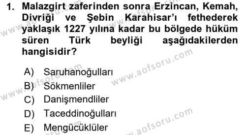 Türkiye Selçuklu Tarihi Dersi 2017 - 2018 Yılı Ara Sınavı 1. Soru