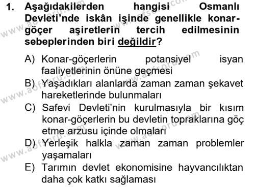Osmanlı´da İskan ve Göç Dersi 2012 - 2013 Yılı Ara Sınavı 1. Soru