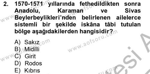 Osmanlı´da İskan ve Göç Dersi 2012 - 2013 Yılı Ara Sınavı 2. Soru