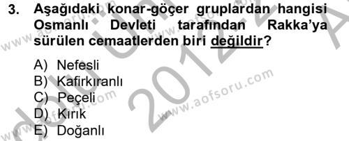 Tarih Bölümü 4. Yarıyıl Osmanlı'da İskan ve Göç Dersi 2013 Yılı Bahar Dönemi Ara Sınavı 3. Soru