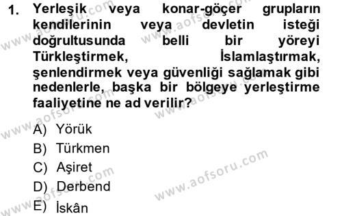 Tarih Bölümü 4. Yarıyıl Osmanlı'da İskan ve Göç Dersi 2014 Yılı Bahar Dönemi Ara Sınavı 1. Soru