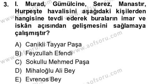 Osmanlı´da İskan ve Göç Dersi 2013 - 2014 Yılı (Vize) Ara Sınav Soruları 3. Soru