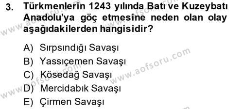 Tarih Bölümü 4. Yarıyıl Osmanlı'da İskan ve Göç Dersi 2014 Yılı Bahar Dönemi Dönem Sonu Sınavı 3. Soru