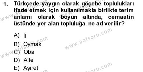 Osmanlı´da İskan ve Göç Dersi 2014 - 2015 Yılı Ara Sınavı 1. Soru