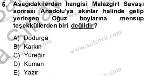 Tarih Bölümü 4. Yarıyıl Osmanlı'da İskan ve Göç Dersi 2015 Yılı Bahar Dönemi Ara Sınavı 5. Soru