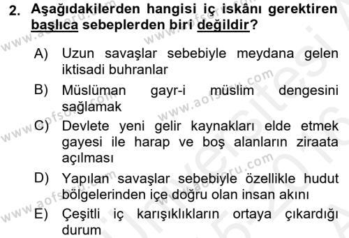 Osmanlı´da İskan ve Göç Dersi 2015 - 2016 Yılı Ara Sınavı 2. Soru