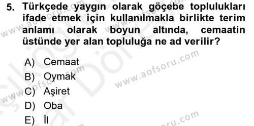 Tarih Bölümü 4. Yarıyıl Osmanlı'da İskan ve Göç Dersi 2016 Yılı Bahar Dönemi Ara Sınavı 5. Soru