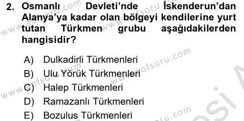 Osmanlı´da İskan ve Göç Dersi 2015 - 2016 Yılı Dönem Sonu Sınavı 2. Soru