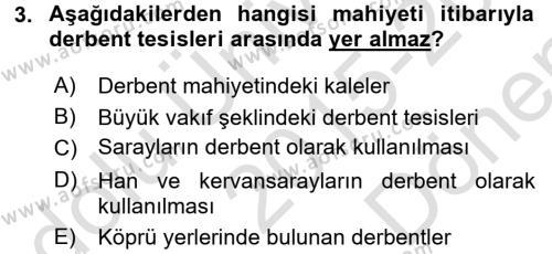 Osmanlı´da İskan ve Göç Dersi 2015 - 2016 Yılı Dönem Sonu Sınavı 3. Soru