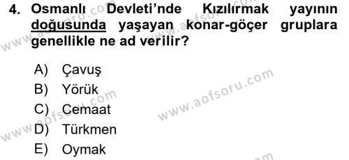 Osmanlı´da İskan ve Göç Dersi 2015 - 2016 Yılı Dönem Sonu Sınavı 4. Soru