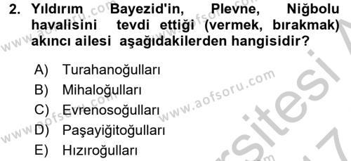 Osmanlı´da İskan ve Göç Dersi 2016 - 2017 Yılı Ara Sınavı 2. Soru