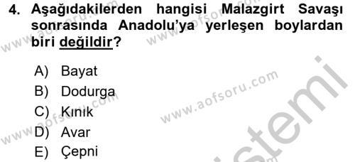 Osmanlı´da İskan ve Göç Dersi 2016 - 2017 Yılı Ara Sınavı 4. Soru