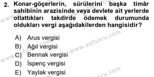 Osmanlı´da İskan ve Göç Dersi 2016 - 2017 Yılı (Final) Dönem Sonu Sınavı 2. Soru