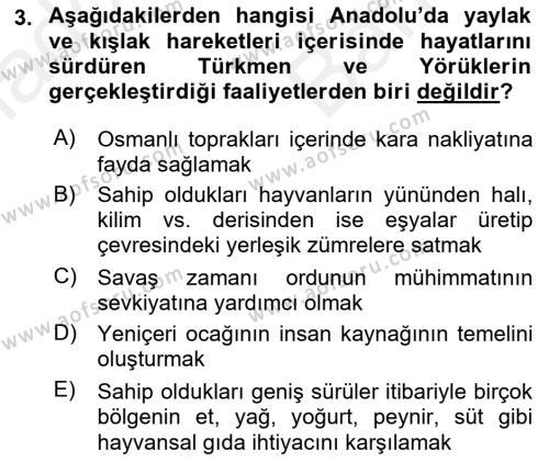 Osmanlı´da İskan ve Göç Dersi 2018 - 2019 Yılı (Vize) Ara Sınav Soruları 3. Soru