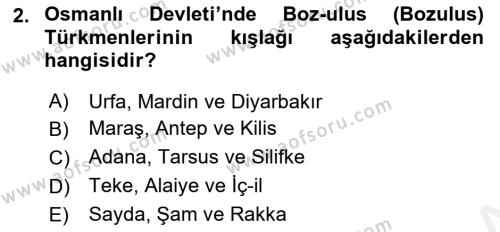 Osmanlı´da İskan ve Göç Dersi 2018 - 2019 Yılı (Final) Dönem Sonu Sınav Soruları 2. Soru