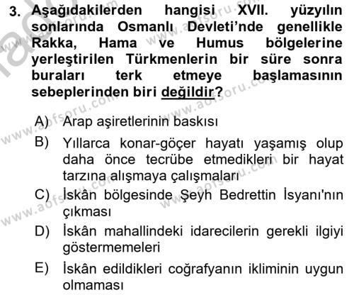 Osmanlı´da İskan ve Göç Dersi 2018 - 2019 Yılı Yaz Okulu Sınav Soruları 3. Soru