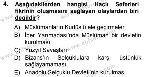 Tarih Bölümü 3. Yarıyıl Orta Çağ-Yeni Çağ Avrupa Tarihi Dersi 2013 Yılı Güz Dönemi Dönem Sonu Sınavı 4. Soru