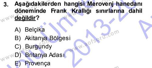 Orta Çağ-Yeni Çağ Avrupa Tarihi Dersi 2013 - 2014 Yılı (Vize) Ara Sınav Soruları 3. Soru