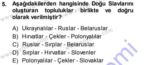 Tarih Bölümü 3. Yarıyıl Orta Çağ-Yeni Çağ Avrupa Tarihi Dersi 2014 Yılı Güz Dönemi Ara Sınavı 5. Soru
