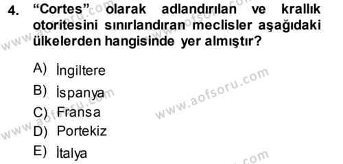 Tarih Bölümü 3. Yarıyıl Orta Çağ-Yeni Çağ Avrupa Tarihi Dersi 2014 Yılı Güz Dönemi Dönem Sonu Sınavı 4. Soru