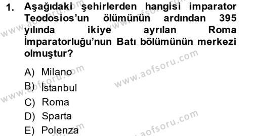Tarih Bölümü 3. Yarıyıl Orta Çağ-Yeni Çağ Avrupa Tarihi Dersi 2015 Yılı Güz Dönemi Ara Sınavı 1. Soru