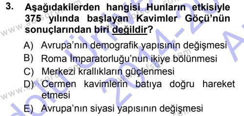 Tarih Bölümü 3. Yarıyıl Orta Çağ-Yeni Çağ Avrupa Tarihi Dersi 2015 Yılı Güz Dönemi Ara Sınavı 3. Soru