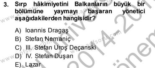 Orta Çağ-Yeni Çağ Avrupa Tarihi Dersi 2014 - 2015 Yılı Dönem Sonu Sınavı 3. Soru