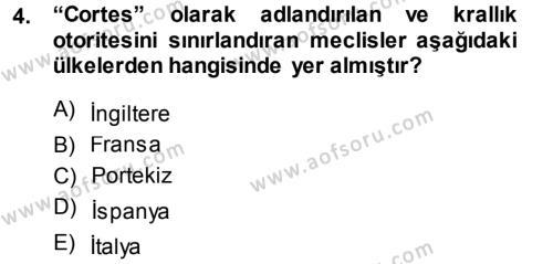 Tarih Bölümü 3. Yarıyıl Orta Çağ-Yeni Çağ Avrupa Tarihi Dersi 2015 Yılı Güz Dönemi Dönem Sonu Sınavı 4. Soru