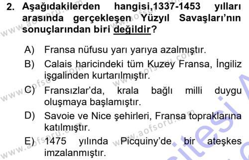 Tarih Bölümü 3. Yarıyıl Orta Çağ-Yeni Çağ Avrupa Tarihi Dersi 2016 Yılı Güz Dönemi Dönem Sonu Sınavı 2. Soru