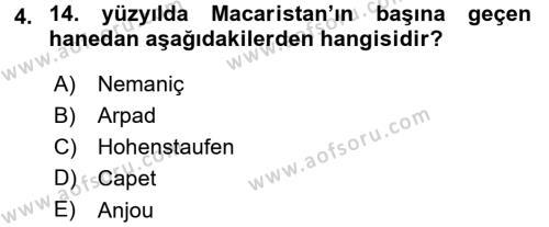 Tarih Bölümü 3. Yarıyıl Orta Çağ-Yeni Çağ Avrupa Tarihi Dersi 2016 Yılı Güz Dönemi Dönem Sonu Sınavı 4. Soru