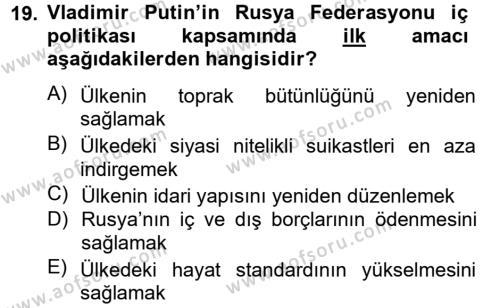 Rusya Tarihi Dersi Dönem Sonu Sınavı Deneme Sınav Soruları 19. Soru