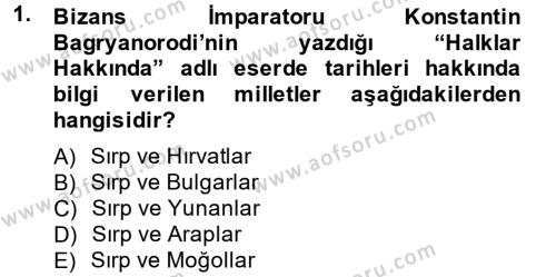 Tarih Bölümü 4. Yarıyıl Rusya Tarihi Dersi 2014 Yılı Bahar Dönemi Ara Sınavı 1. Soru