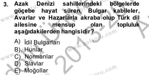 Tarih Bölümü 4. Yarıyıl Rusya Tarihi Dersi 2014 Yılı Bahar Dönemi Ara Sınavı 3. Soru