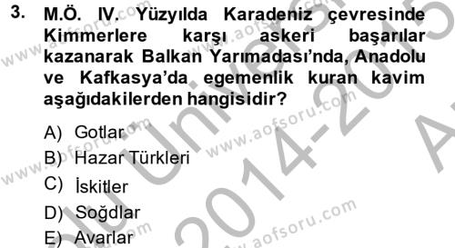 Tarih Bölümü 4. Yarıyıl Rusya Tarihi Dersi 2015 Yılı Bahar Dönemi Ara Sınavı 3. Soru