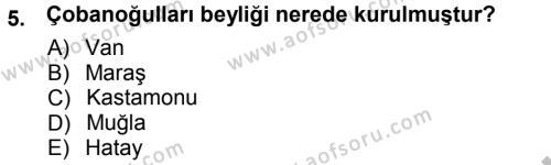 Tarih Bölümü 3. Yarıyıl Osmanlı Tarihi (1299-1566) Dersi 2013 Yılı Güz Dönemi Ara Sınavı 5. Soru