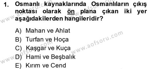 Tarih Bölümü 3. Yarıyıl Osmanlı Tarihi (1299-1566) Dersi 2015 Yılı Güz Dönemi Ara Sınavı 1. Soru