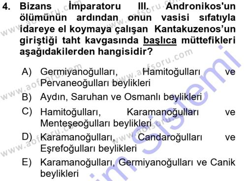 Tarih Bölümü 3. Yarıyıl Osmanlı Tarihi (1299-1566) Dersi 2016 Yılı Güz Dönemi Ara Sınavı 4. Soru