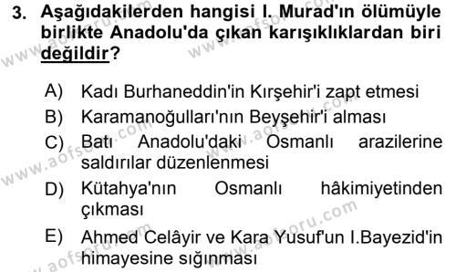 Tarih Bölümü 3. Yarıyıl Osmanlı Tarihi (1299-1566) Dersi 2016 Yılı Güz Dönemi Dönem Sonu Sınavı 3. Soru