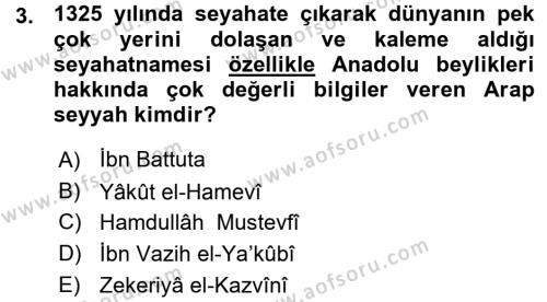 Osmanlı Tarihi (1299-1566) Dersi 2015 - 2016 Yılı Ara Sınavı 3. Soru