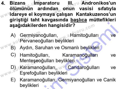 Osmanlı Tarihi (1299-1566) Dersi 2015 - 2016 Yılı Ara Sınavı 4. Soru