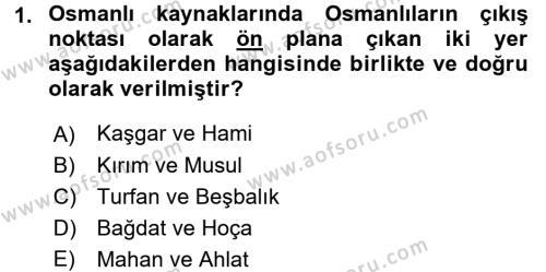 Osmanlı Tarihi (1299-1566) Dersi 2016 - 2017 Yılı Ara Sınavı 1. Soru