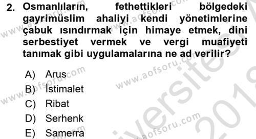 Osmanlı Tarihi (1299-1566) Dersi 2017 - 2018 Yılı Ara Sınavı 2. Soru