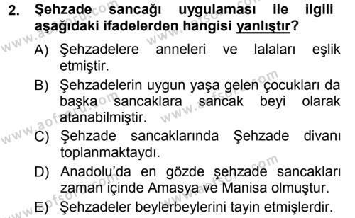 Osmanlı Merkez ve Taşra Teşkilatı Dersi 2012 - 2013 Yılı Ara Sınavı 2. Soru