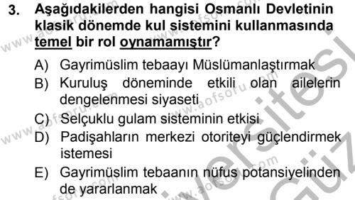 Osmanlı Merkez ve Taşra Teşkilatı Dersi 2012 - 2013 Yılı Ara Sınavı 3. Soru