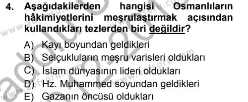 Osmanlı Merkez ve Taşra Teşkilatı Dersi 2012 - 2013 Yılı (Vize) Ara Sınav Soruları 4. Soru